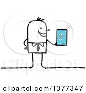 Clipart Of A Stick Business Man Holding A Tablet Connected To Wifi Royalty Free Vector Illustration
