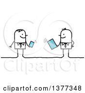 Poster, Art Print Of Stick Business Men Holding A Phone And A Tablet Connected To Wifi