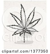 Clipart Of A Marijuana Cannabis Leaf On Fiber Texture Royalty Free Illustration