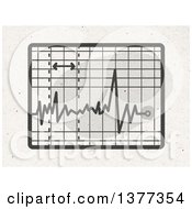 Clipart Of A Screen With An Electrocardiogram On Fiber Texture Royalty Free Illustration