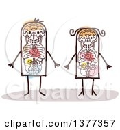 Clipart Of A Stick Man And Woman With Visible Organs Royalty Free Vector Illustration