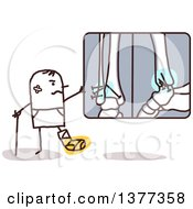 Clipart Of A Hurt Stick Man Looking At X Rays Royalty Free Vector Illustration by NL shop