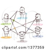 Clipart Of A Stick People Connected In A Network Royalty Free Vector Illustration