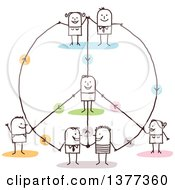 Clipart Of A Stick People Connected In A Peace Shaped Network Royalty Free Vector Illustration