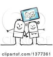 Clipart Of A Stick Man And Woman Posing Under A Selfie On A Tablet Computer Royalty Free Vector Illustration