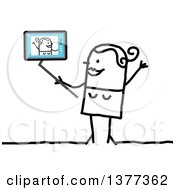 Clipart Of A Stick Woman Using A Tablet Computer To Take A Selfie Royalty Free Vector Illustration