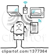 Clipart Of A Stick Man Being Exposed To Too Many Wifi Waves Royalty Free Vector Illustration