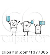 Happy Connected Stick Family Holding Up Tablet Computers And A Smart Phone