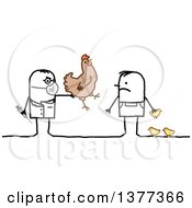 Clipart Of A Male Stick Veterinarian Vaccinating A Mans Chickens Royalty Free Vector Illustration by NL shop