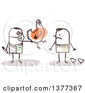 Clipart Of A Male Stick Veterinarian Vaccinating A Mans Chickens Royalty Free Vector Illustration