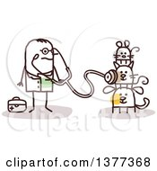 Clipart Of A Stick Male Veterinarian Examining Pets Royalty Free Vector Illustration