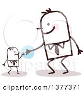 Clipart Of A Big Stick Man Helping A Small Man Royalty Free Vector Illustration