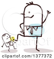 Clipart Of A Big Stick Man Kicking Down A Small Man Royalty Free Vector Illustration