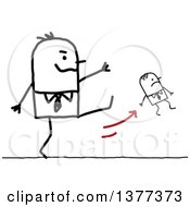 Clipart Of A Big Stick Man Firing A Small Man And Kicking Him Royalty Free Vector Illustration by NL shop