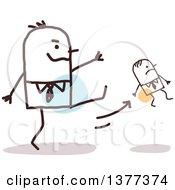 Big Stick Man Firing A Small Man And Kicking Him