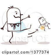 Clipart Of A Big Stick Man Firing A Small Man And Kicking Him Royalty Free Vector Illustration
