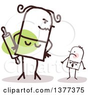 Clipart Of A Big Stick Wife Glaring At Her Small Husband Royalty Free Vector Illustration
