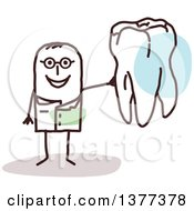 Clipart Of A Male Stick Dentist Holding A Tooth Royalty Free Vector Illustration by NL shop