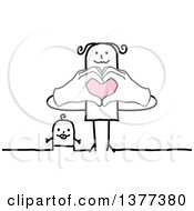 Clipart Of A Stick Mother And Baby Mom Forming A Heart With Her Hands Royalty Free Vector Illustration by NL shop