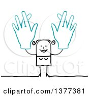 Clipart Of A Stick Woman Holding Up Big Hands With Crossed Fingers Royalty Free Vector Illustration