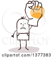 Clipart Of A Stick Man Holding Up A Big Fisted Hand Royalty Free Vector Illustration