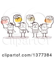 Clipart Of Stick Men And Women Holding Up Fists Royalty Free Vector Illustration