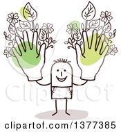 Clipart Of A Stick Man Holding Up Green Floral Hands Royalty Free Vector Illustration