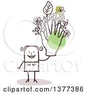 Clipart Of A Stick Woman Holding Up A Green Floral Hand Royalty Free Vector Illustration