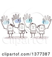 Clipart Of Stick Men And Women Holding Up Big Hands Royalty Free Vector Illustration