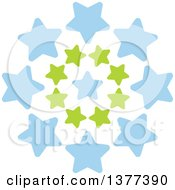Clipart Of A Burst Of Green And Blue Stars Royalty Free Vector Illustration by Cherie Reve