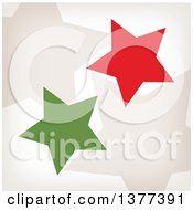 Clipart Of Retro Tan Red And Green Stars Royalty Free Vector Illustration by Cherie Reve