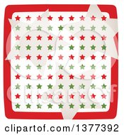 Clipart Of Retro Tan Red And Green Stars In A Red Border Royalty Free Vector Illustration by Cherie Reve