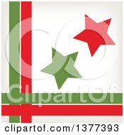 Clipart Of Retro Red And Green Stars With A Border Of Lines Royalty Free Vector Illustration by Cherie Reve