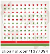 Clipart Of Retro Tan Red And Green Stars With Red And Green Lines Royalty Free Vector Illustration by Cherie Reve