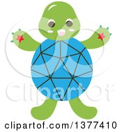 Clipart Of A Blue Shelled Turtle Royalty Free Vector Illustration