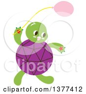 Clipart Of A Purple Shelled Turtle With A Balloon Royalty Free Vector Illustration by Cherie Reve