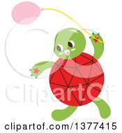 Clipart Of A Red Shelled Turtle With A Balloon Royalty Free Vector Illustration by Cherie Reve