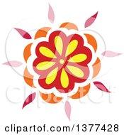 Red Yellow Pink And Orange Flower Burst Design