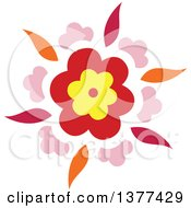 Clipart Of A Red Yellow Pink And Orange Flower Burst Design Royalty Free Vector Illustration
