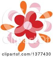 Red Pink And Orange Flower Burst Design