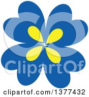 Clipart Of A Blue And Yellow Flower Design Royalty Free Vector Illustration