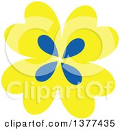 Clipart Of A Yellow And Blue Flower Design Royalty Free Vector Illustration