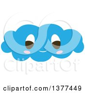 Clipart Of A Happy Blue Cloud Character Royalty Free Vector Illustration by Cherie Reve