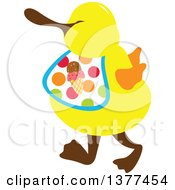 Yellow Duck Wearing A Waffle Ice Cream Cone Bib