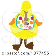 Clipart Of A Yellow Duck Wearing A Cupcake Bib Royalty Free Vector Illustration by Cherie Reve