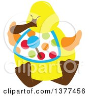 Clipart Of A Yellow Duck Wearing A Candy Bib Royalty Free Vector Illustration