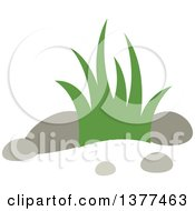 Clipart Of A Bunch Of Grass And Rocks Royalty Free Vector Illustration by Cherie Reve