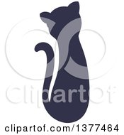 Clipart Of A Navy Blue Silhouetted Sitting Cat Royalty Free Vector Illustration