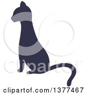Navy Blue Silhouetted Sitting Cat