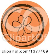 Distressed Round Orange Flower Spring Time Icon